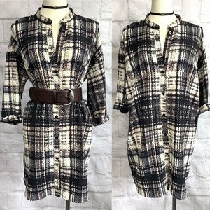 Topshop Plaid button up Tunic Shirt Dress